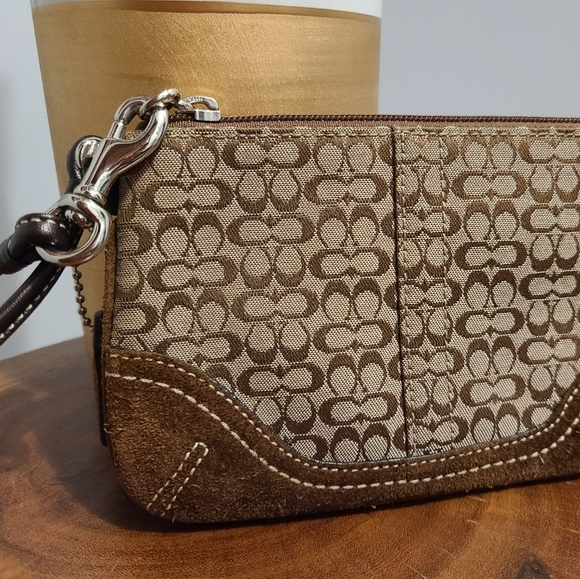 Coach Signature Wristlet with Suede trim
